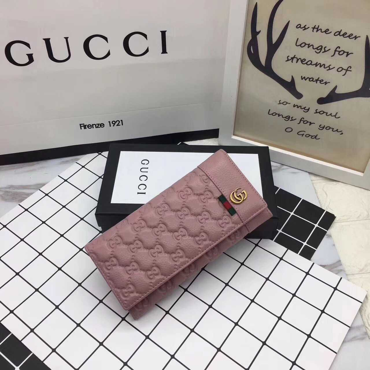 c1e4c1deb122 グッチ 長財布 レザー GGスプリーム コインウォレット 二つ折り財布 2つ折りピンク